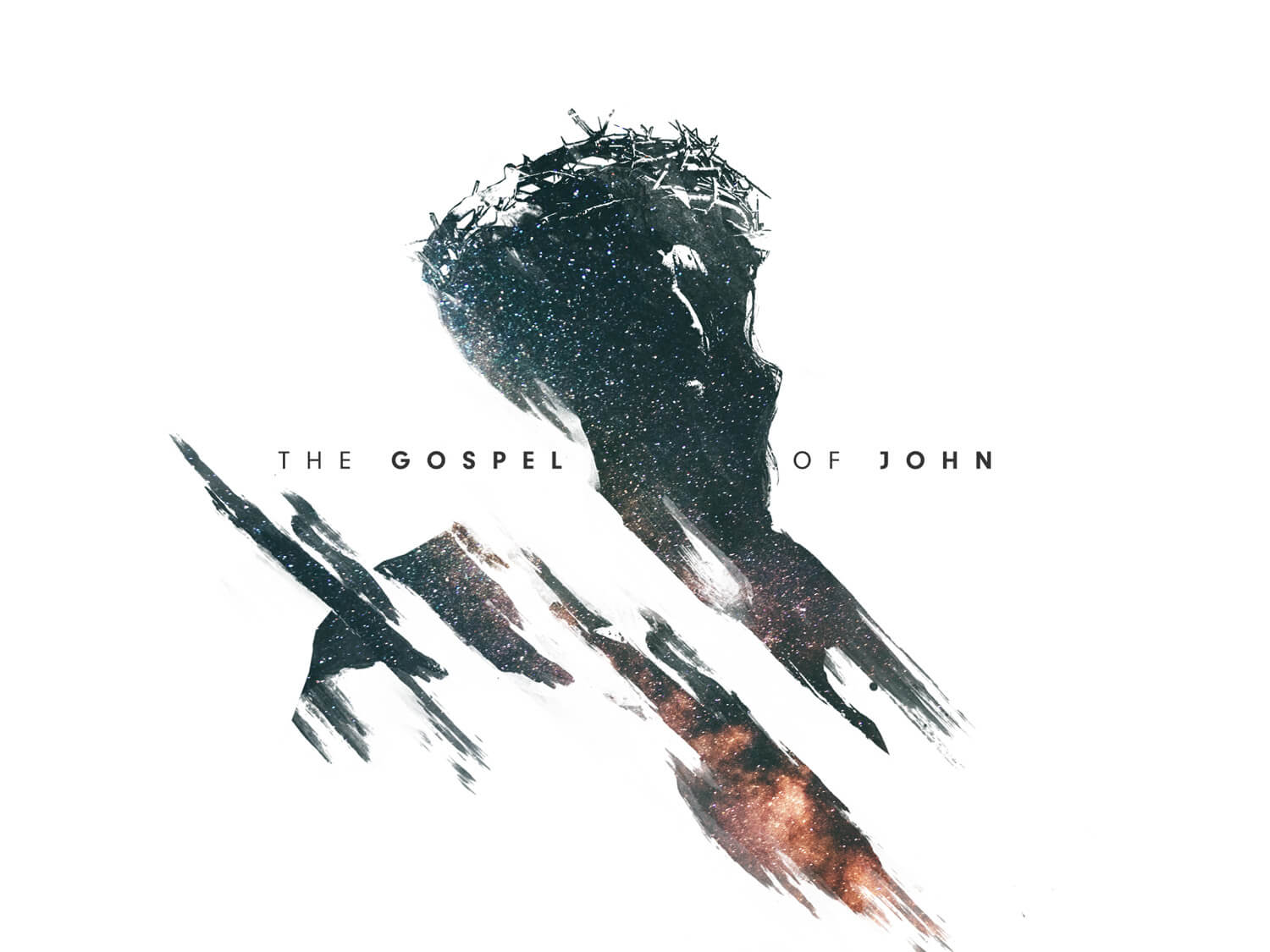 the gospel of john with silhouette of jesus with crown of thorns
